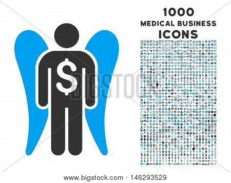 Angel Investor vector bicolor icon with 1000 medical business icons. Set style is flat pictograms blue and gray colors white background.