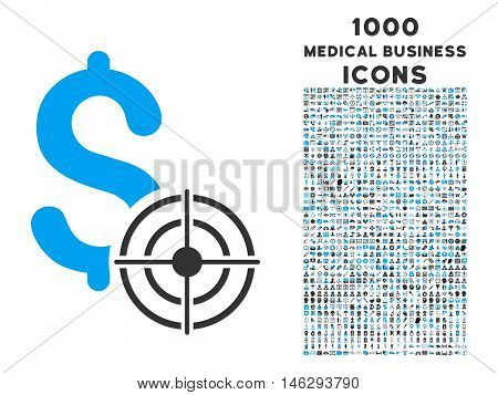 Business Target vector bicolor icon with 1000 medical business icons. Set style is flat pictograms blue and gray colors white background.