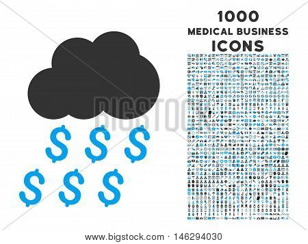 Money Rain vector bicolor icon with 1000 medical business icons. Set style is flat pictograms, blue and gray colors, white background.