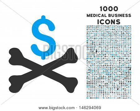 Mortal Debt vector bicolor icon with 1000 medical business icons. Set style is flat pictograms blue and gray colors white background.