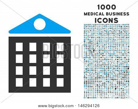Multi-Storey House vector bicolor icon with 1000 medical business icons. Set style is flat pictograms blue and gray colors white background.