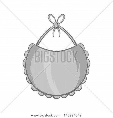 Bib icon in black monochrome style isolated on white background. Childrens care symbol vector illustration