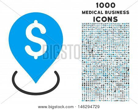 Bank Placement glyph bicolor icon with 1000 medical business icons. Set style is flat pictograms blue and gray colors white background.