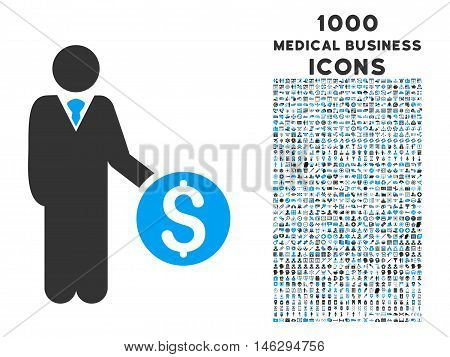 Banker glyph bicolor icon with 1000 medical business icons. Set style is flat pictograms blue and gray colors white background.