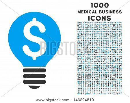Business Patent Bulb glyph bicolor icon with 1000 medical business icons. Set style is flat pictograms blue and gray colors white background.