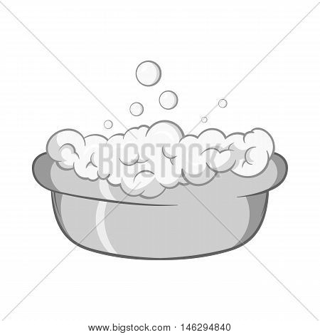 Bath for baby icon in black monochrome style isolated on white background. Child care symbol vector illustration