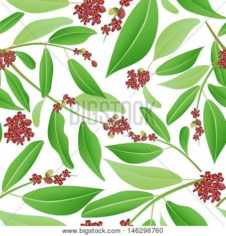 Floral seamless pattern sandalwood. Sandalwood tree branch with red flowers and green leaves. Vector illustration can be used in wallpapers textile.