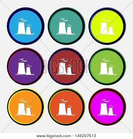 Atomic Power Station Icon Sign. Nine Multi Colored Round Buttons. Vector