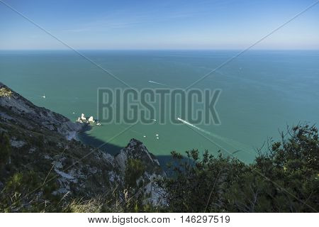 Aerial view of the Two Sisters (Two Sisters) bay, Conero Mountain in the adriatic sea, Italy.