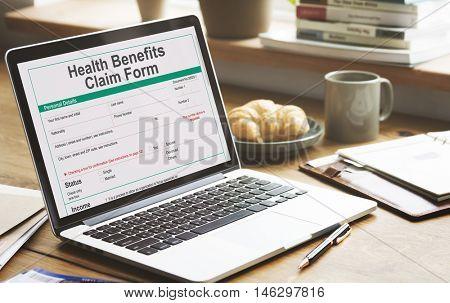 Health Benefits Claim Benefits Form Concept
