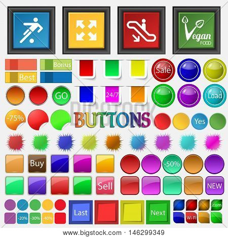 Football Fulskrin , Escalator , Vegetarianism Icon. Big Set Buttons For Your Site. Vector