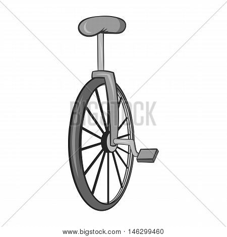 Unicycle icon in black monochrome style isolated on white background. Circus symbol vector illustration