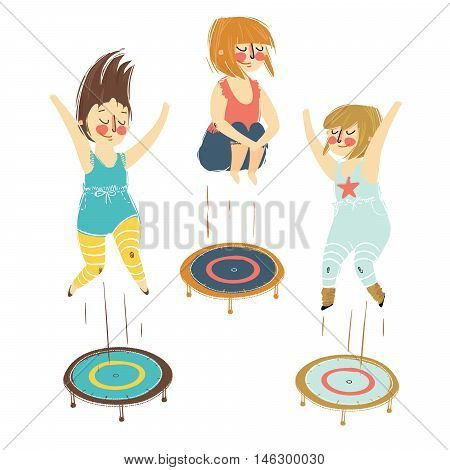Illustration of a girls playing trampoline on a white background. Set