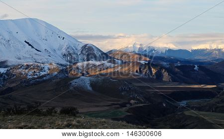 Sunset on The Southern Alps.  Porters Pass, Canterbury New, Zealand.