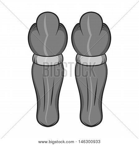 Hockey knee pads icon in black monochrome style isolated on white background. Clothing symbol vector illustration