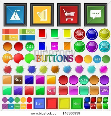Volcano , Harp , Shopping Cart, Thought Cloud Icon. Big Set Buttons For Your Site. Vector