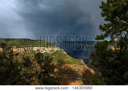 A rain storm rages over a small crevice in the Grand Canyon by the Bright Angel Trail overlook on the North Rim of the canyon. The rain falls into the valley.