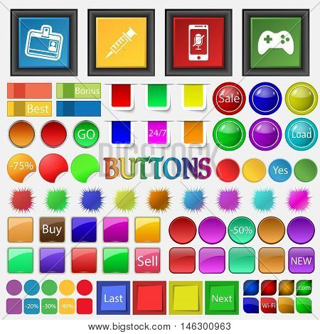 Badge , Gun , Telephone , Joystick Icon. Big Set Buttons For Your Site. Vector