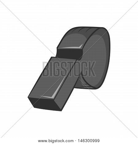 Whistle of referee icon in black monochrome style isolated on white background. Sport symbol vector illustration
