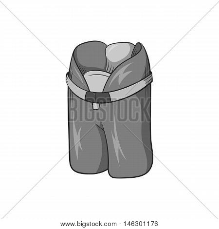 Hockey protective shorts icon in black monochrome style isolated on white background. Sport symbol vector illustration