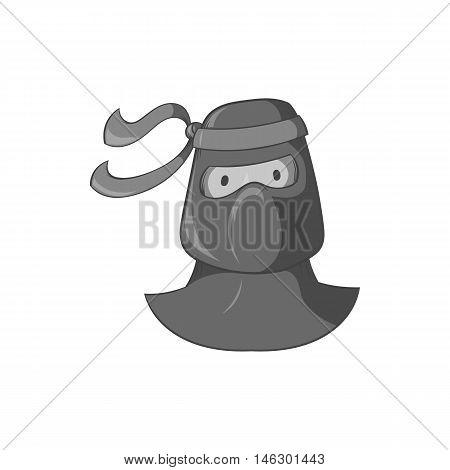 Ninja icon in black monochrome style isolated on white background. Spy symbol vector illustration