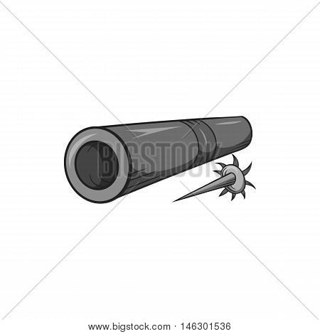Brass tube with darts icon in black monochrome style isolated on white background. Weapon symbol vector illustration