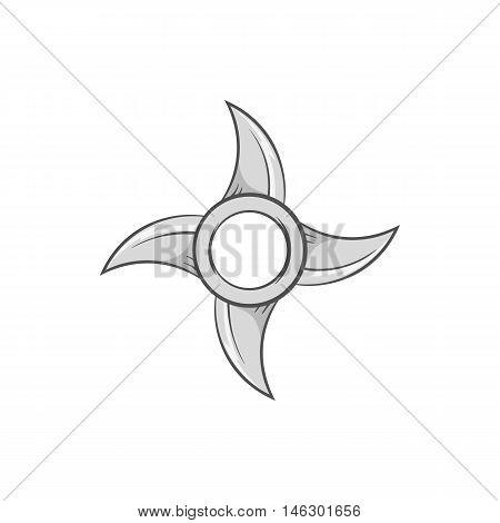 Ninja shuriken icon in black monochrome style isolated on white background. Weapon symbol vector illustration