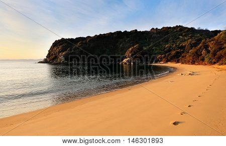 Sunset and Footprints on a Sandy Tropical Beach.  Te Pukatea Bay, Abel Tasman National Park, New Zealand