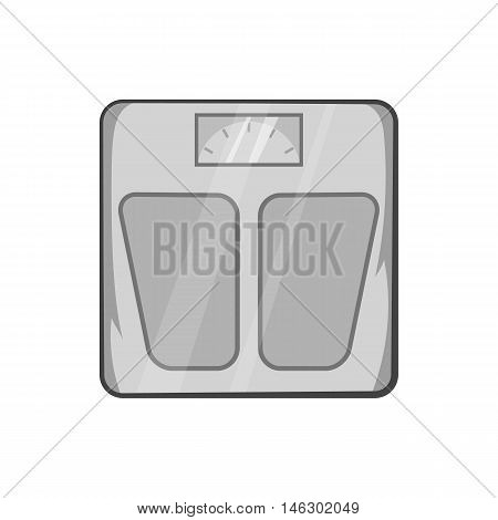 Mechanical scales icon in black monochrome style isolated on white background. Weighing symbol vector illustration