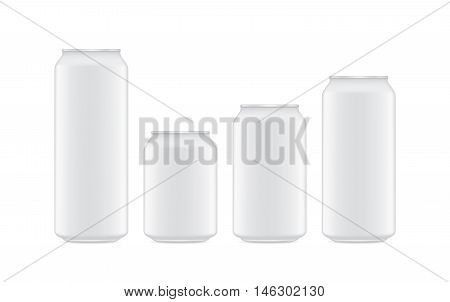 Vector Beverage can white color 4 size isolated on white background. Small and big and other size.