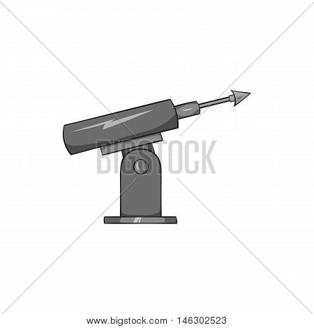 Harpoon for fishing icon in black monochrome style isolated on white background. Fishing symbol vector illustration