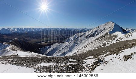 Panoramic Mountain View of The Alps Castle Hill Basin, Southern Alps, New Zealand