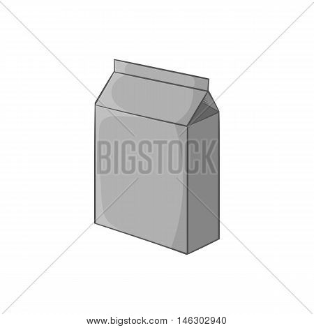 Cardboard packaging icon in black monochrome style isolated on white background. Production and packaging symbol vector illustration