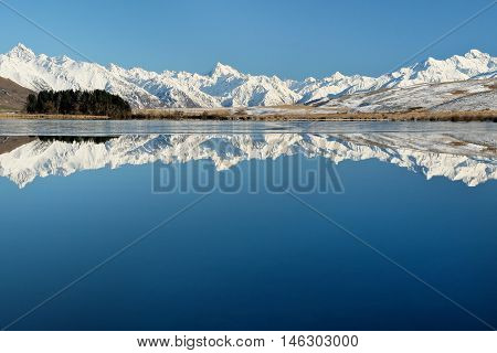 The Southern Alps Reflected in Lake Clearwater  Hakatere Conservation Park, New Zealand