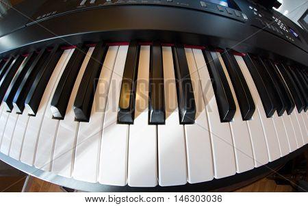 Piano taken with a fish eye lens.