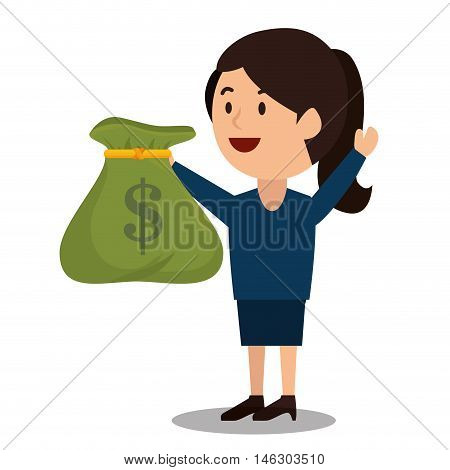 woman cartoon bag money earnings design isolated vector illustration eps 10