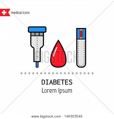 Test strips and drop. Determination of the level of blood sugar. Flat color icons. Diabetes