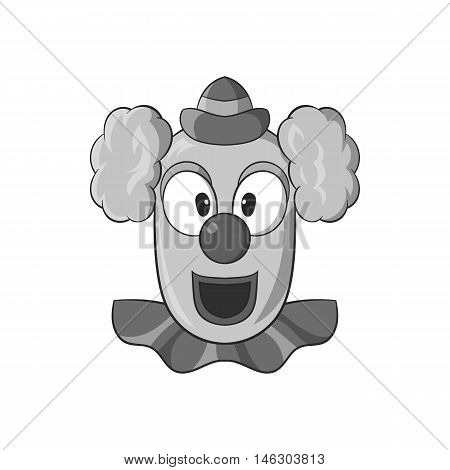 Clown face icon in black monochrome style isolated on white background. Attraction symbol vector illustration