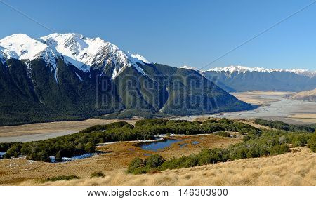 Mountain Scenery and The Waimakariri River  Arthurs Pass, Southern Alps, New Zealand