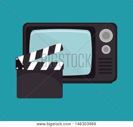 cartoon clapperboard tv movie design vector illustration eps 10