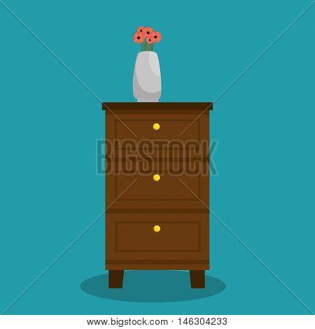 chest of drawers flower vase design vector illustration eps 10