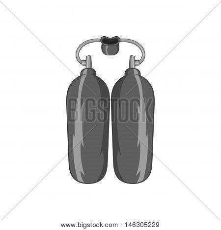 Cylinders for diving icon in black monochrome style isolated on white background. Swimming symbol vector illustration