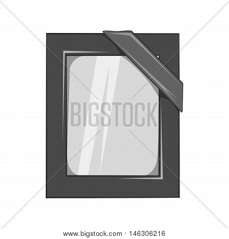 Photos of deceased with ribbon icon in black monochrome style isolated on white background. Death symbol vector illustration