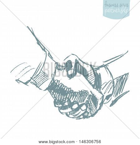 Two people shake hands, partnership concept, hand drawn vector illustration, sketch.