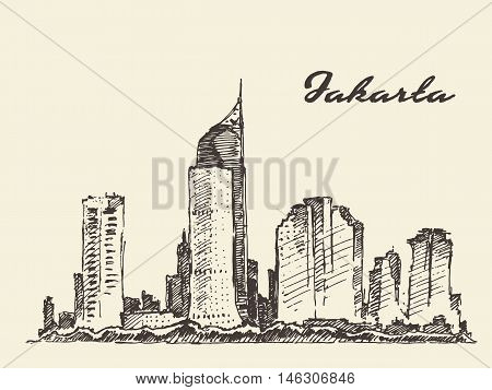 Jakarta skyline vintage engraved illustration, hand drawn, sketch