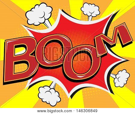 BOOM comic speech bubble pop art cartoon vector