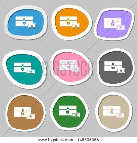 Chest Icon Symbols. Multicolored Paper Stickers. Vector