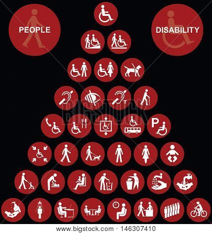 Red disability and people related pyramid graphics collection isolated on black background