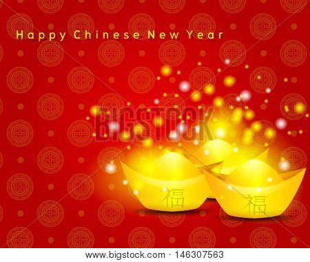 Happy Chinese New Year on Red Background and ancient Chinese money with Chinese Word mean Lucky vector
