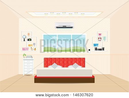 Bedroom with double bed and furniture Bedroom interior design conceptual Vector illustration.